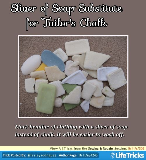 Sewing & Repairs - Sliver of Soap Substitute for Tailor's ...
