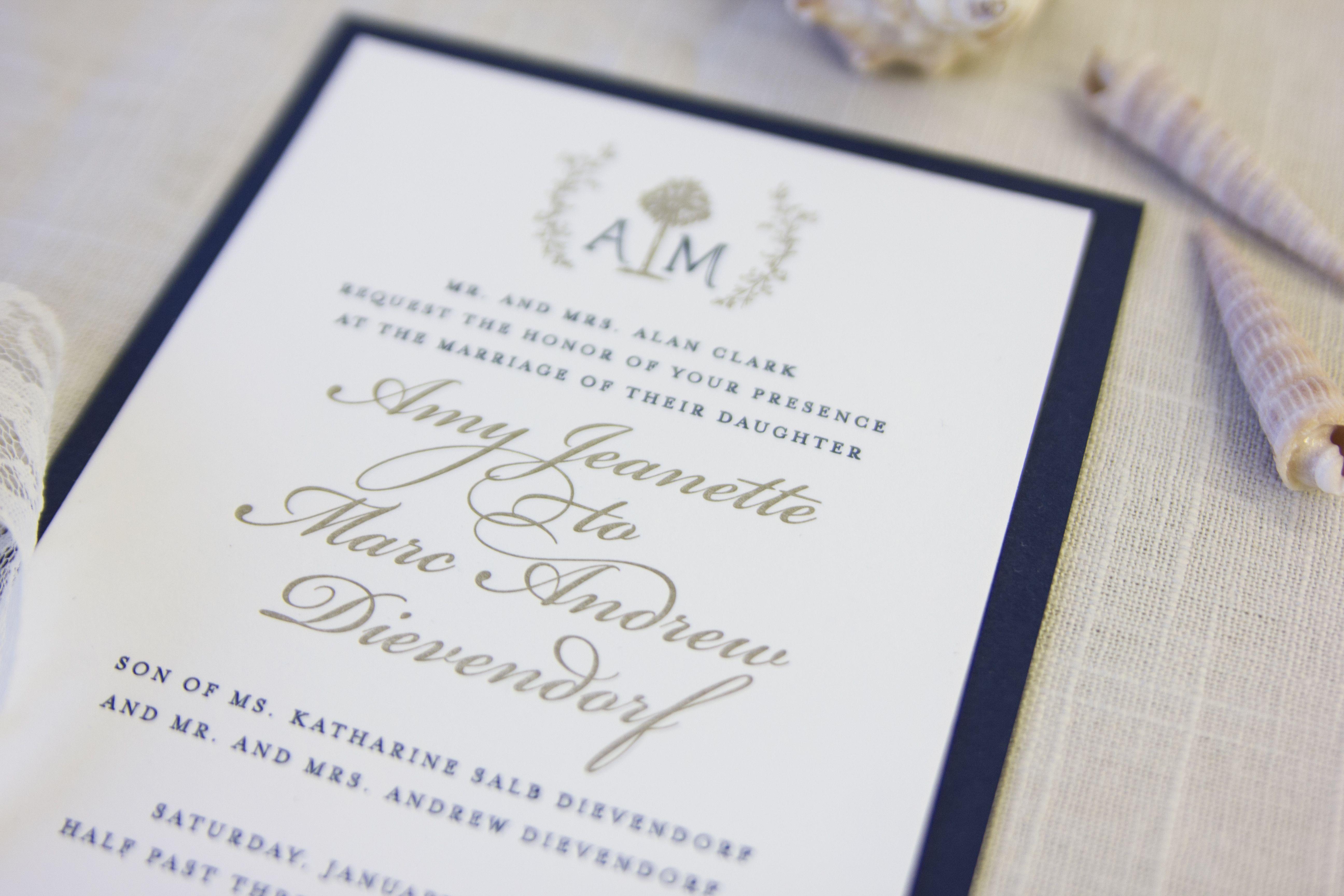 Custom wedding stationery • Hilton Head duplexed letterpress ...