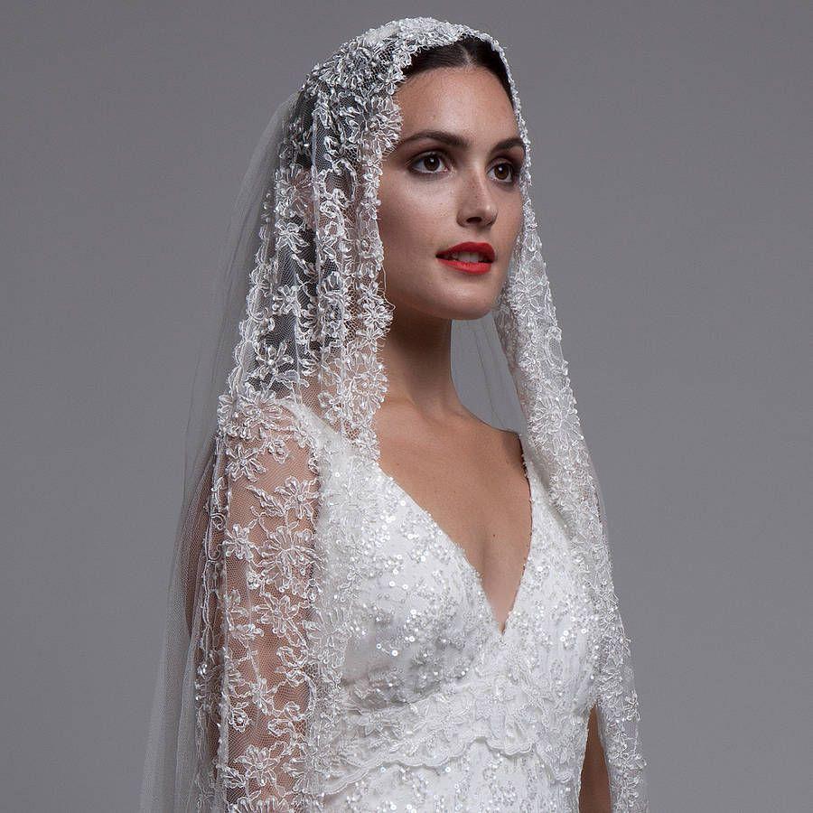 Best 25 mantilla veil ideas on pinterest spanish for Spanish lace wedding dress
