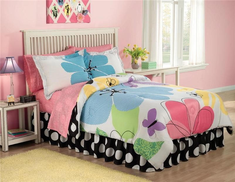 Girls Teen Eye Candy Pastel Pink Blue Floral 6pc Twin Comforter Set Bed In  Bag