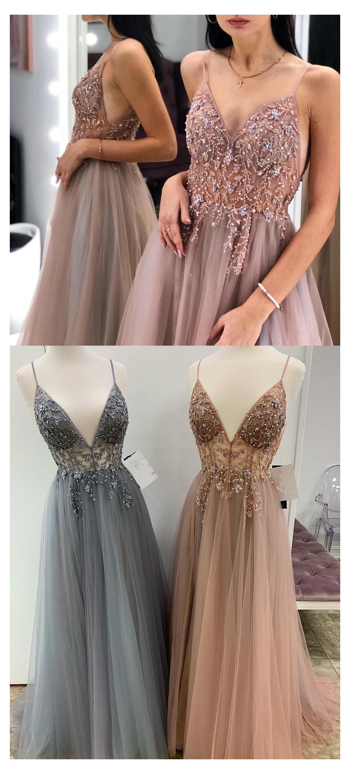 rose gold formal dress long