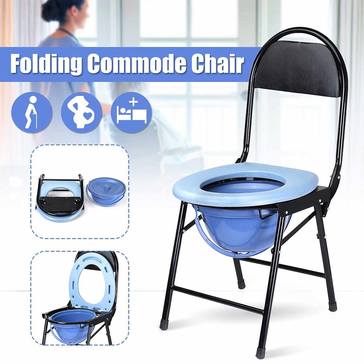 Portable Folding Bedside Bathroom Potty Toilet Convenient Commode Seat Shower Chair No Slip Feet For Elderly Disabled People In 2020 Shower Chair Potty Toilet Potty Chair