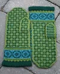 Mittens knitted with green and turquoise