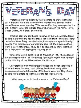 Veterans Day Reading Passage
