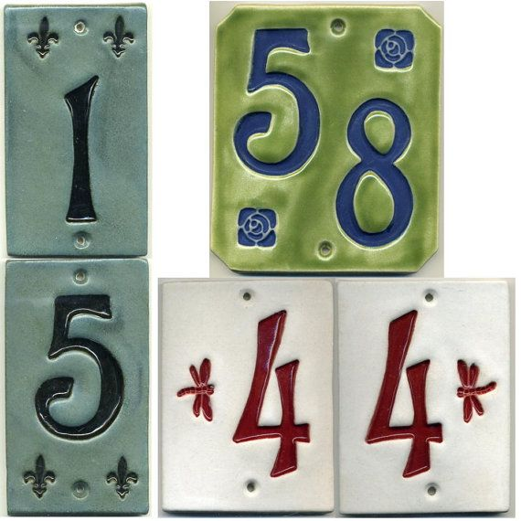 Decorative Tile House Numbers Handcrafted Twodigit Ceramic House Number Tile Address Plaque
