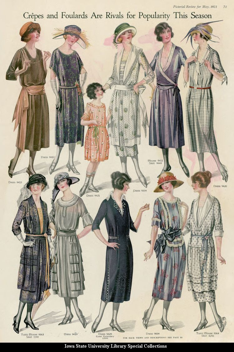 Catalogue Page Showing Day Dresses 1921 United States Pictorial Review Such An Inspiring Image These Women Hav 1920s Fashion Vintage Outfits Fashion Plates