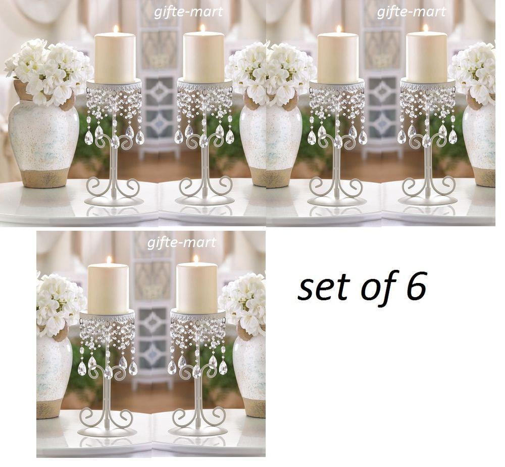 6 chandelier candelabra Beaded pillar Candle Holder stand wedding ...