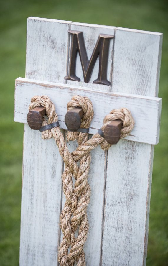 Personalized Wedding Braid Cord Of Three Strands S Knot Unity For Ceremony Wood Sign