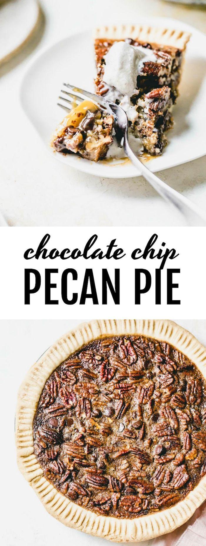 Chocolate Chip Pecan Pie #pecanpierecipe