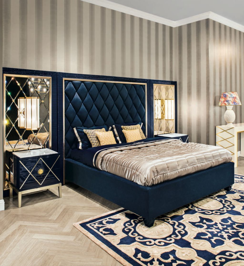 Art Deco Bedroom With Stripes Wallpaper With Navy Blue Bed Frame