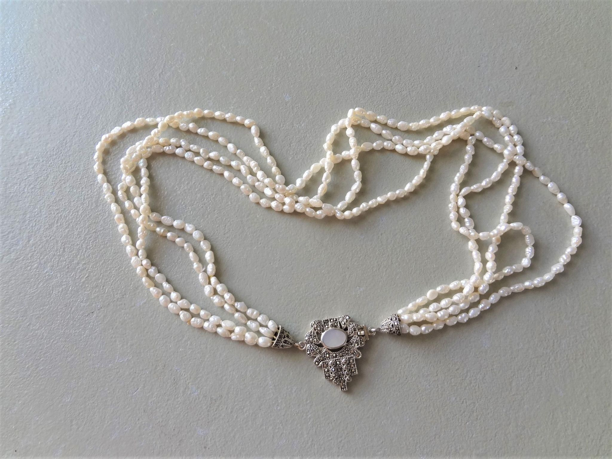 09ea275dfde44f Vintage Art Deco Marcasite Mother Of Pearl Clasp Cultured Seed Pearl  Necklace