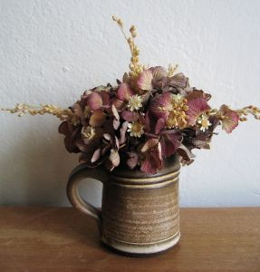 Dried flower arrangement.