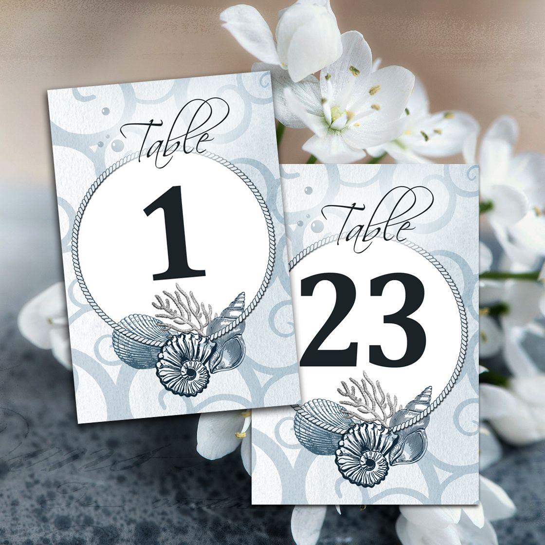 Printable Wedding Table Numbers 4x6 Beach Marine Ocean Sea Theme Blue Shells Seashells Template Cards Instant