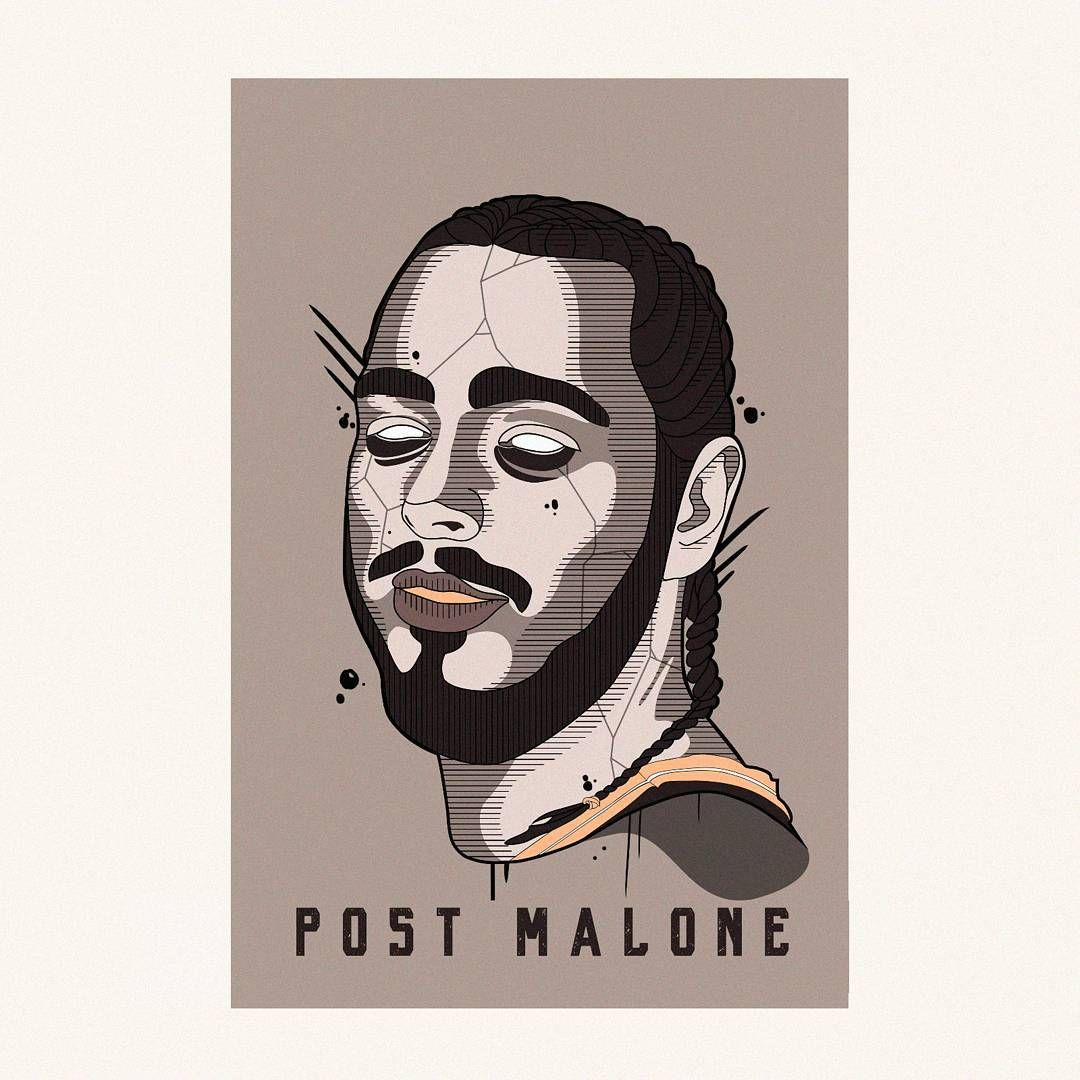 Post Malone Drawing: Post Malone Illustration #art #illustration #drawing #draw