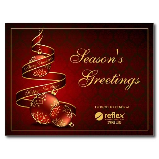 Corporate Season Greetings Cards With Logo Postcard Seasons Greetings Card Business Holiday Cards Company Holiday Cards