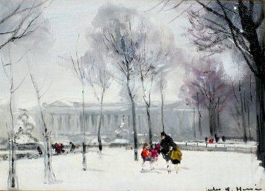 Jules-René Hervé - La Place de la Madeleine en hiver