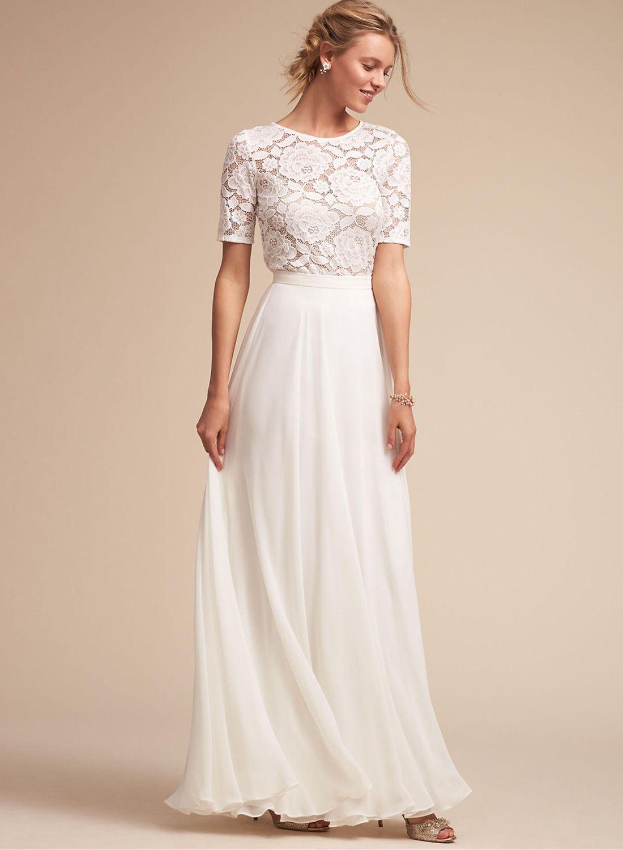 Round neck short sleeve lace panel long prom dress fall fashion