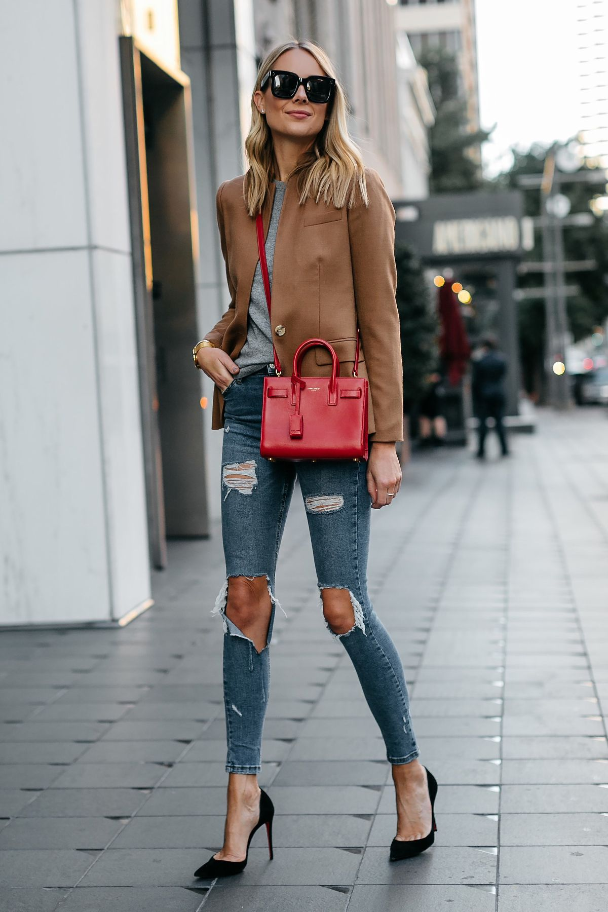 Blonde Woman Wearing Jcrew Camel Blazer Grey Sweater Ripped Denim Jeans  Black Pumps Saint Laurent Sac