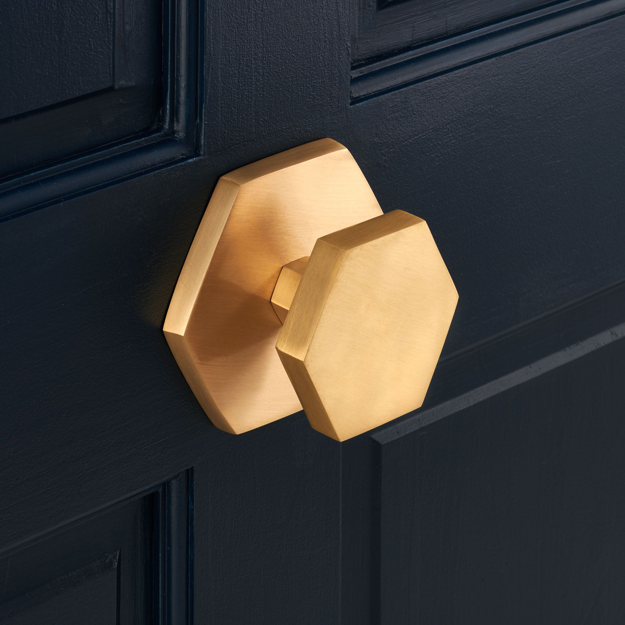 Solid brass gold hexagonal centre door knob with a brushed finish ...