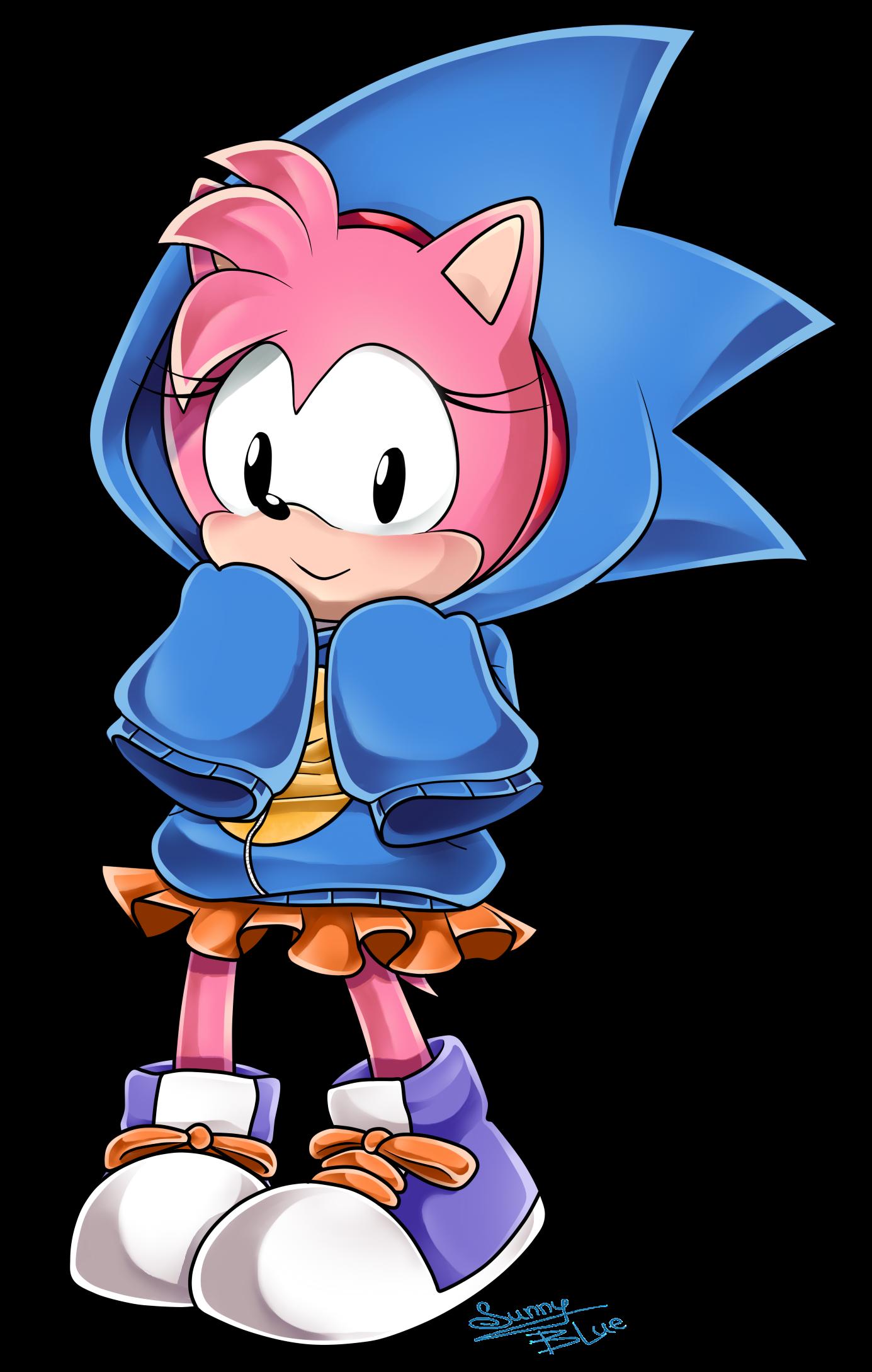 Classic Amy Wears Sonic Hoodie By Xxsunny Bluexx On Deviantart Sonic Classic Sonic Amy The Hedgehog
