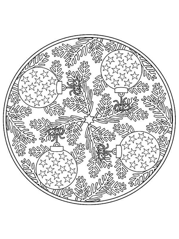 Mandala Christmas Tree Ornaments Coloring Pages Christmas