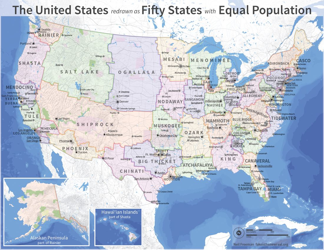 electorally reformed US map new states and state lines designed to