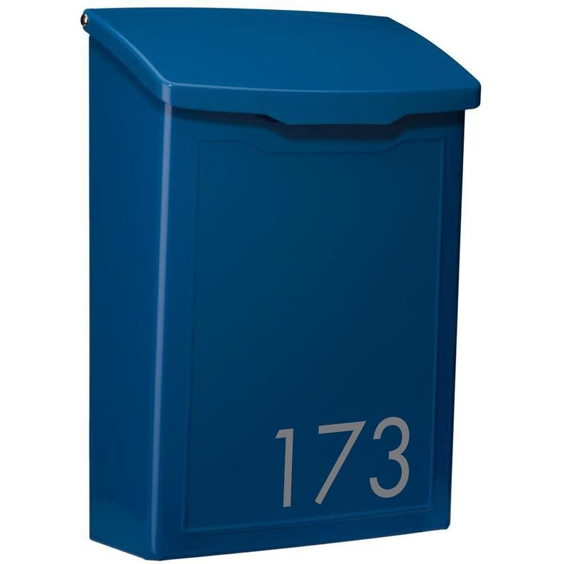 Modern Contemporary Mailbox Personalized Wall Mount Letterbox Customized Wall Mount Mailbox Blue Metal Letter Box In 2020 Architectural Mailboxes Wall Mount Mailbox Mounted Mailbox