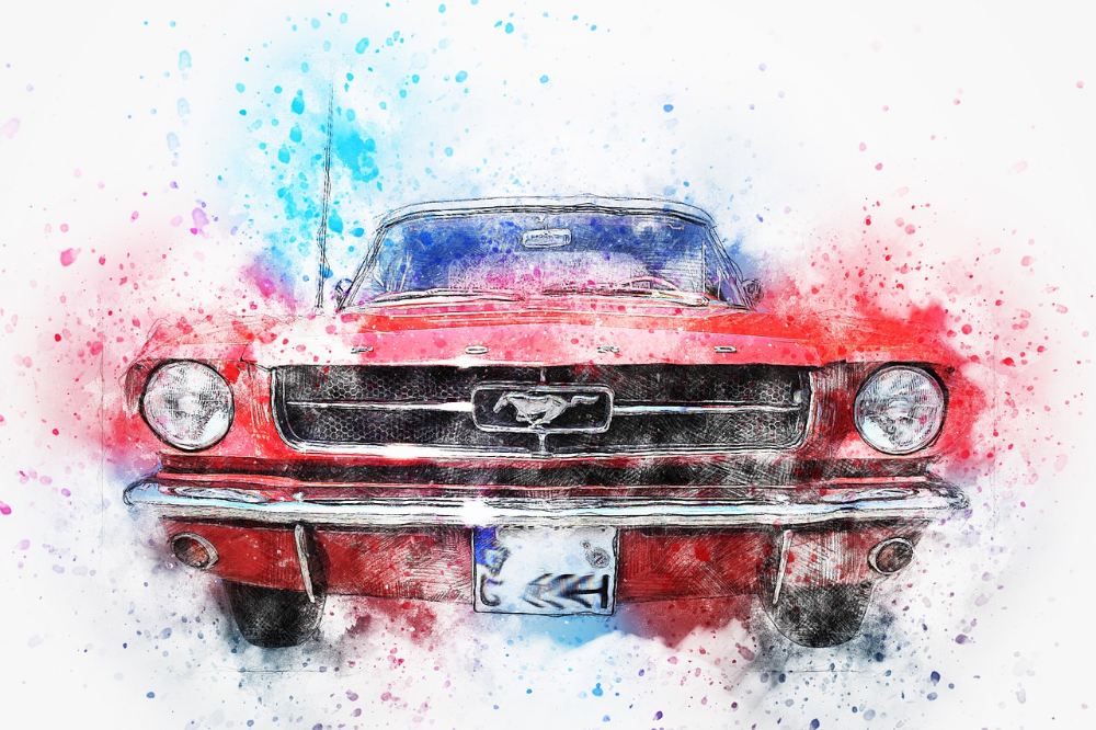Free Image on Pixabay - Car, Old Car, Mustang, Art