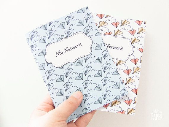 small soft cover address book with printed paper planes pattern a6