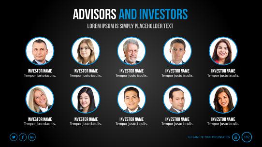 Pitch Deck  Investor Presentation  Advisors And Investors Slide
