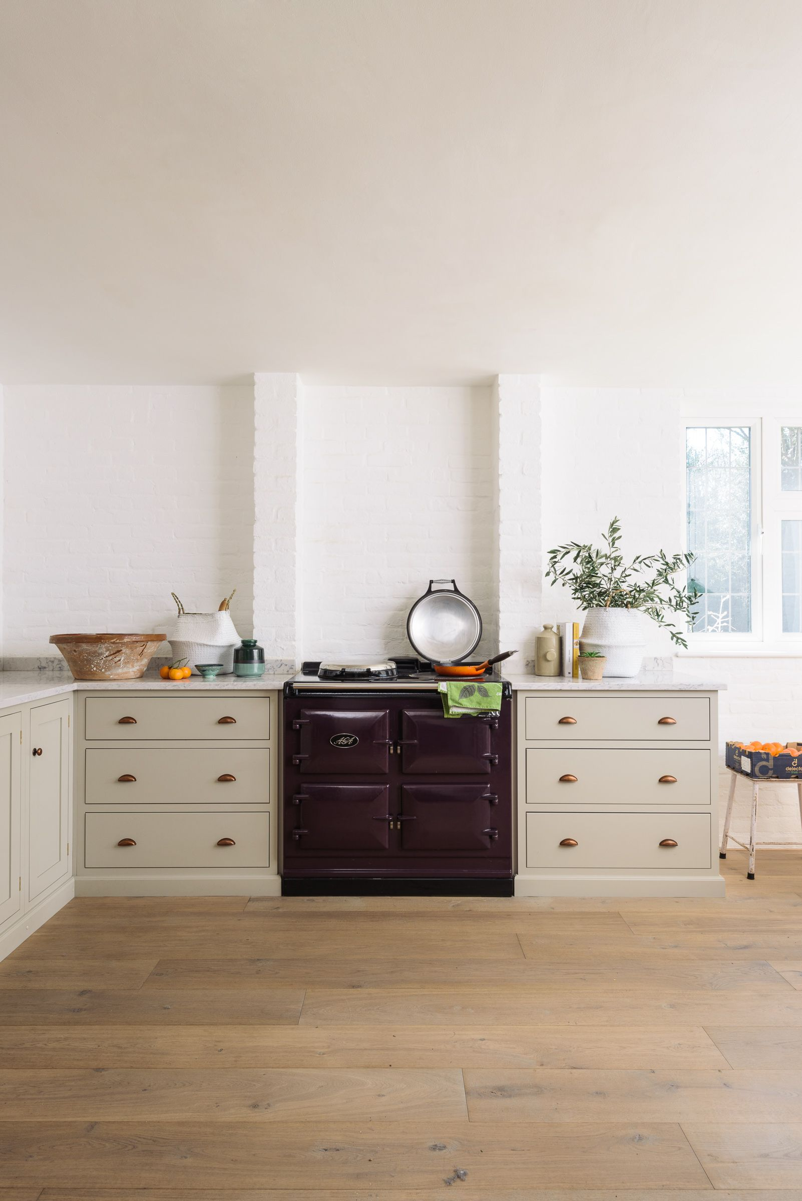 A beautifully simple Shaker kitchen painted in \'Mushroom\' with a ...