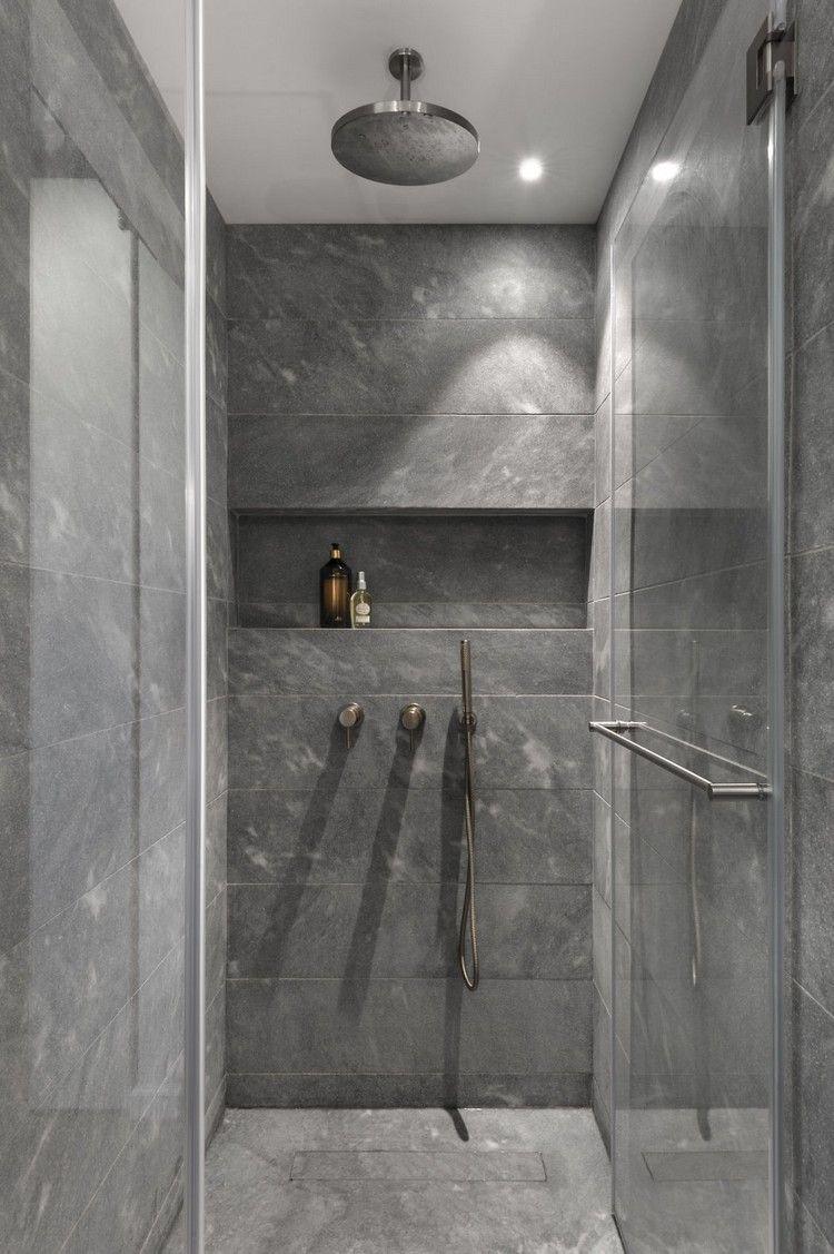Badezimmerdesign graue fliesen industrial chic style bad fliesen grau glaswand dusche