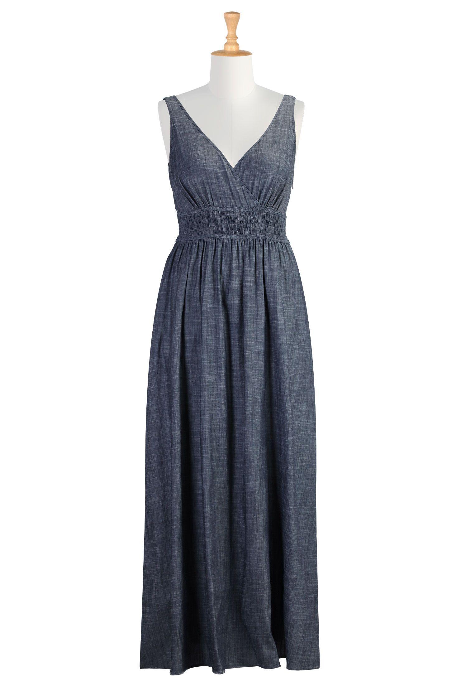 Chambray maxi dress plus size maxi dresses womenus fashion dress