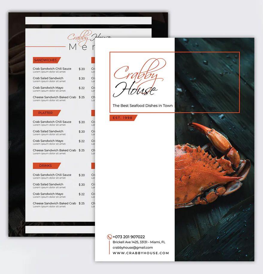 Seafood Menu Template PSD. Creative and Minimalist menu