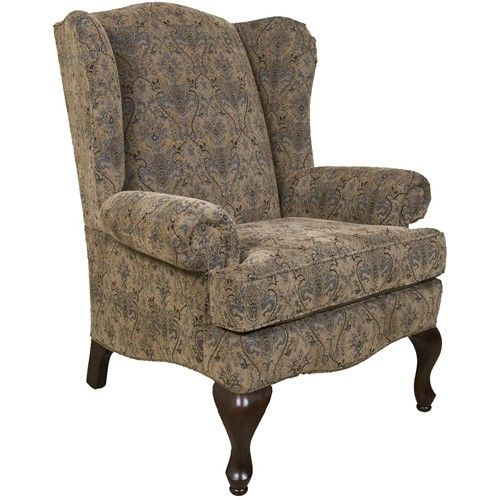England Colleen Upholstered Wing Chair With Cabriole Legs   Godby Home  Furnishings   Wing Chair Noblesville