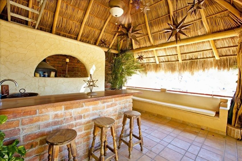 Mexico Home Patio Bar With Palapa Hut Houses Build