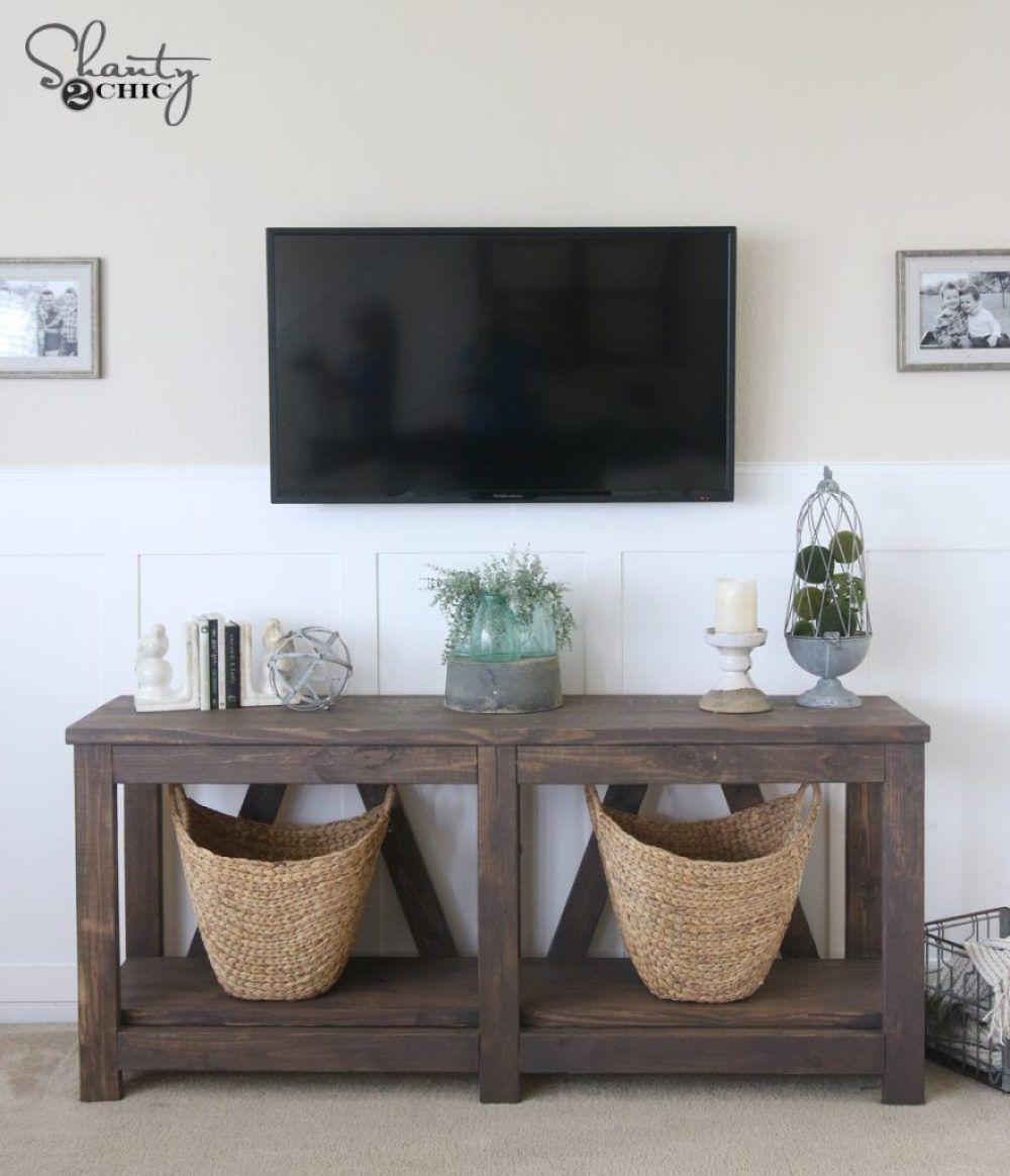 DIY Diagonal Base Farmhouse Console Table Diy furniture