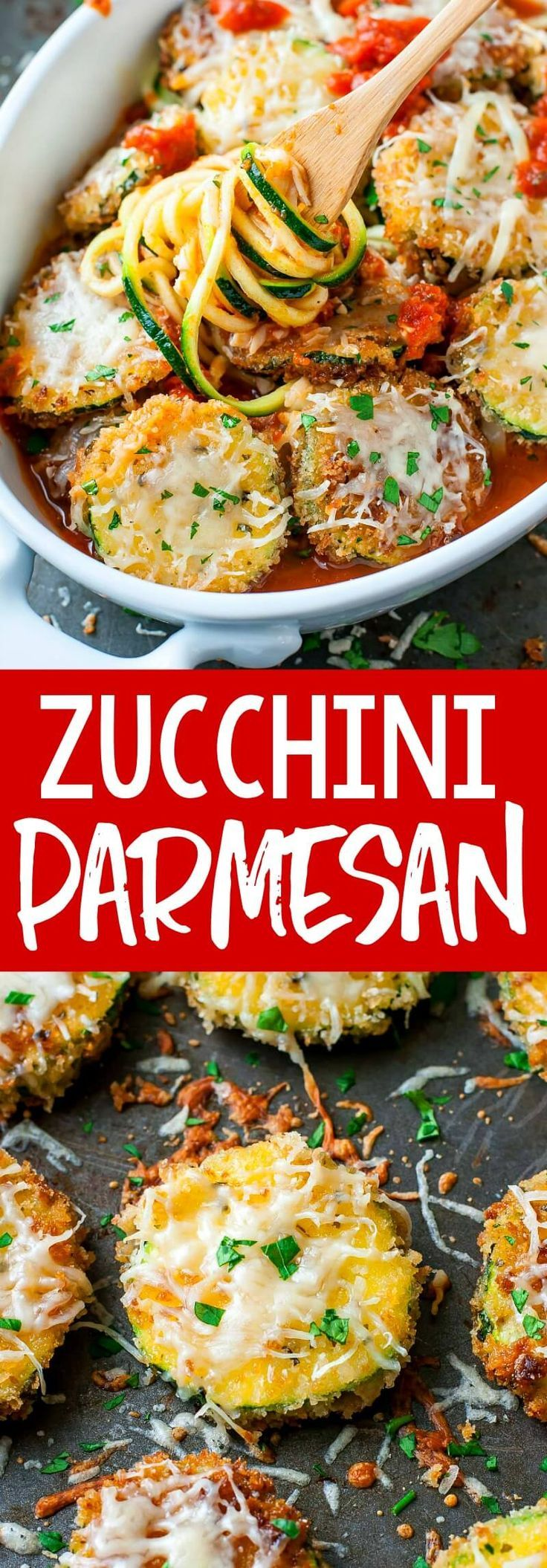 Vegetarian Zucchini Parmesan - Peas and Crayons #zucchininoodles