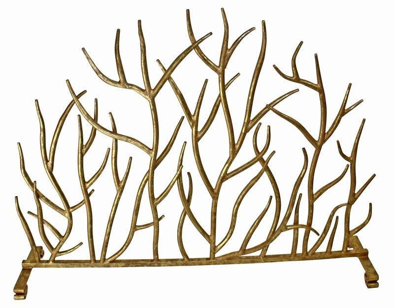 Contemporary French Ornate Twig Antique Gold Iron Fireplace Screen - dr livingstone i presume accessories
