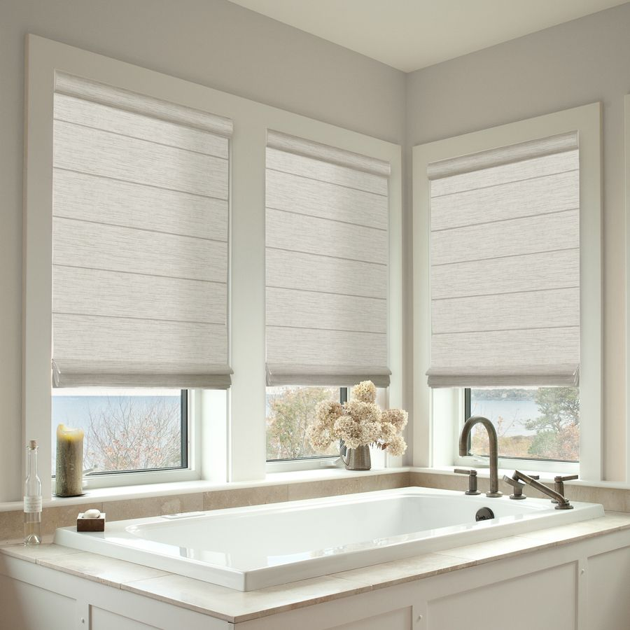 Luxe Roman Shades Selectblinds Com Bathroom Windows Small Bathroom Window Bathroom Window Treatments