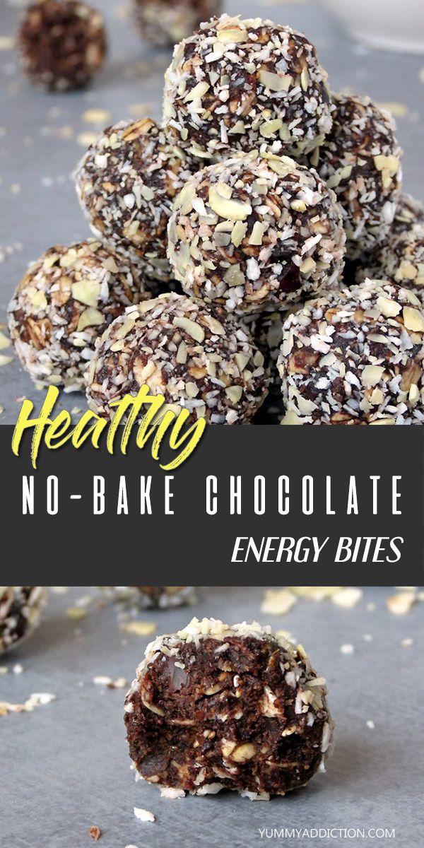 Healthy No-Bake Chocolate Energy Bites - Yummy Addiction