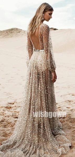 Long Sleeves V-neck See Through Long Prom Dresses PG1162