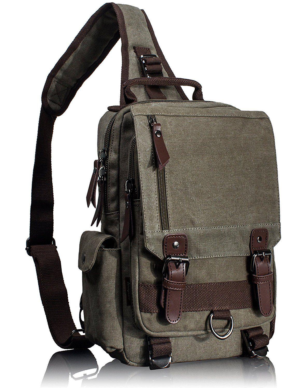 3684186dcc08 Leaper Canvas One Strap Sling Cross Body Messenger Bag Shoulder Backpack  Rucksack (Large