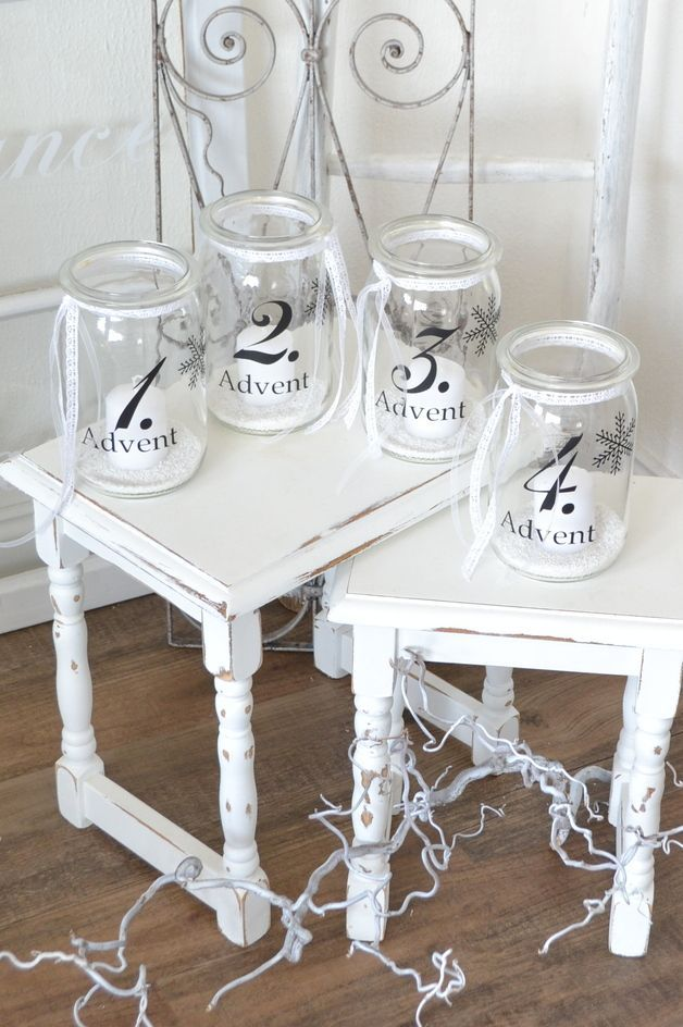 Use old mason jars to create an advent wreath for Dekoration advent weihnachten
