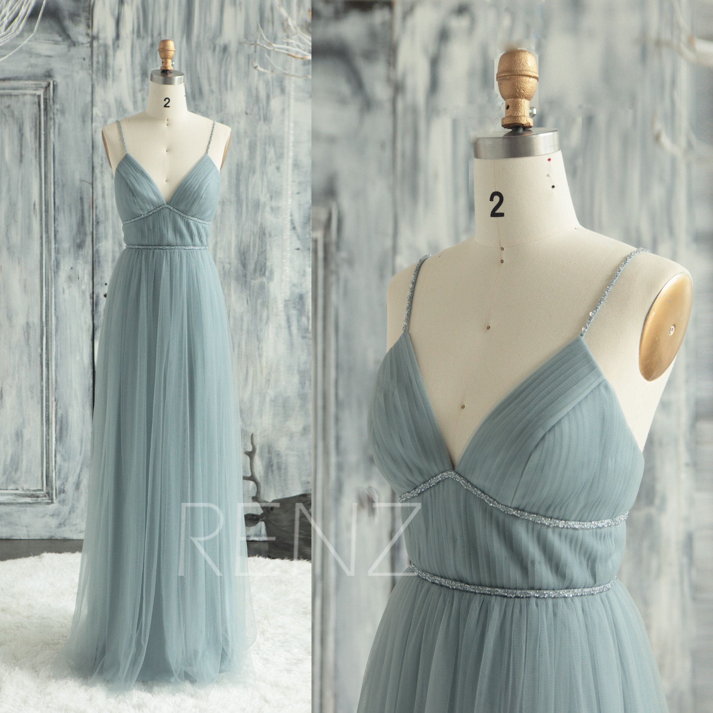 Prom Dress Dusty Blue Tulle Bridesmaid Dress V Neck Wedding Dress Beaded Spaghetti Strap Forma Pleated Wedding Dresses Pleated Party Dress V Neck Wedding Dress [ 2500 x 2500 Pixel ]