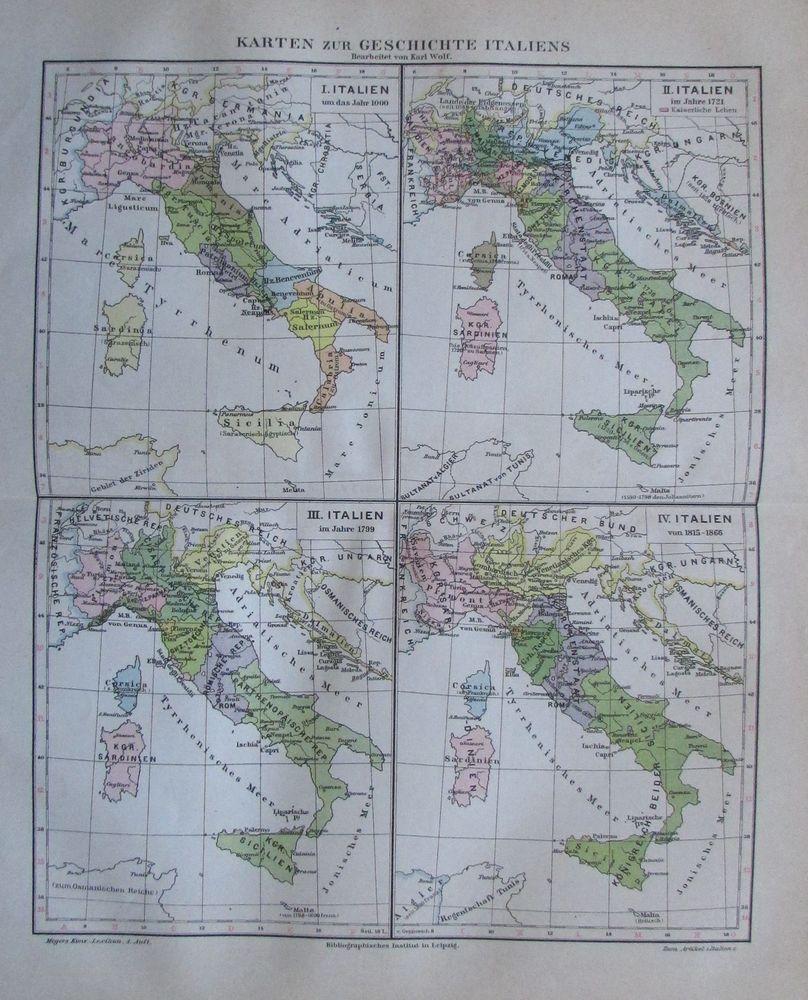 Details Zu 1888 Karten Zur Geschichte Italiens Alte Landkarte