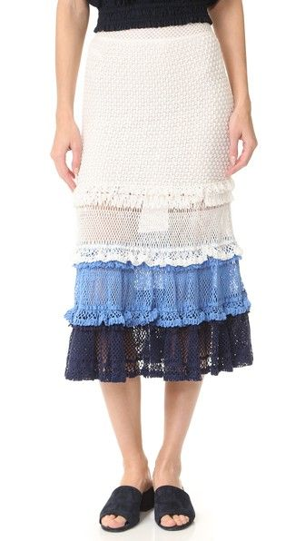 JONATHAN SIMKHAI Ruffle Crochet Midi Skirt. #jonathansimkhai #cloth #dress #top #shirt #sweater #skirt #beachwear #activewear