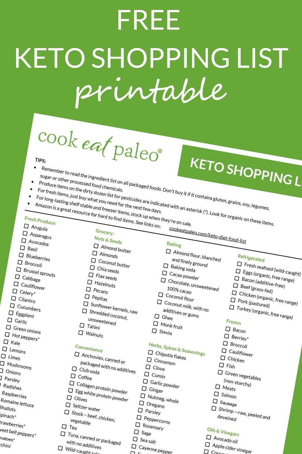 photo relating to Keto Shopping List Printable called Pin upon Healthful Meal Recipes