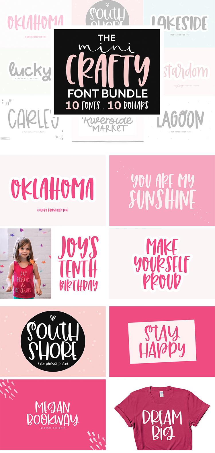 Download Font Bundle - 10 Fonts for Crafters, Cute Fonts, Cricut ...