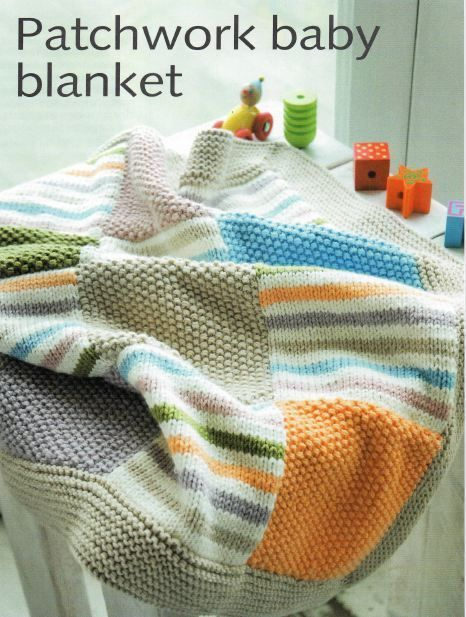 Babies Knitting Pattern For Patchwork Blanketthrow Patchwork